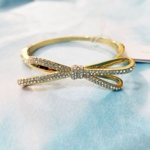 Kate Spade All Tied Up Pave Gold Hinged Bracelet